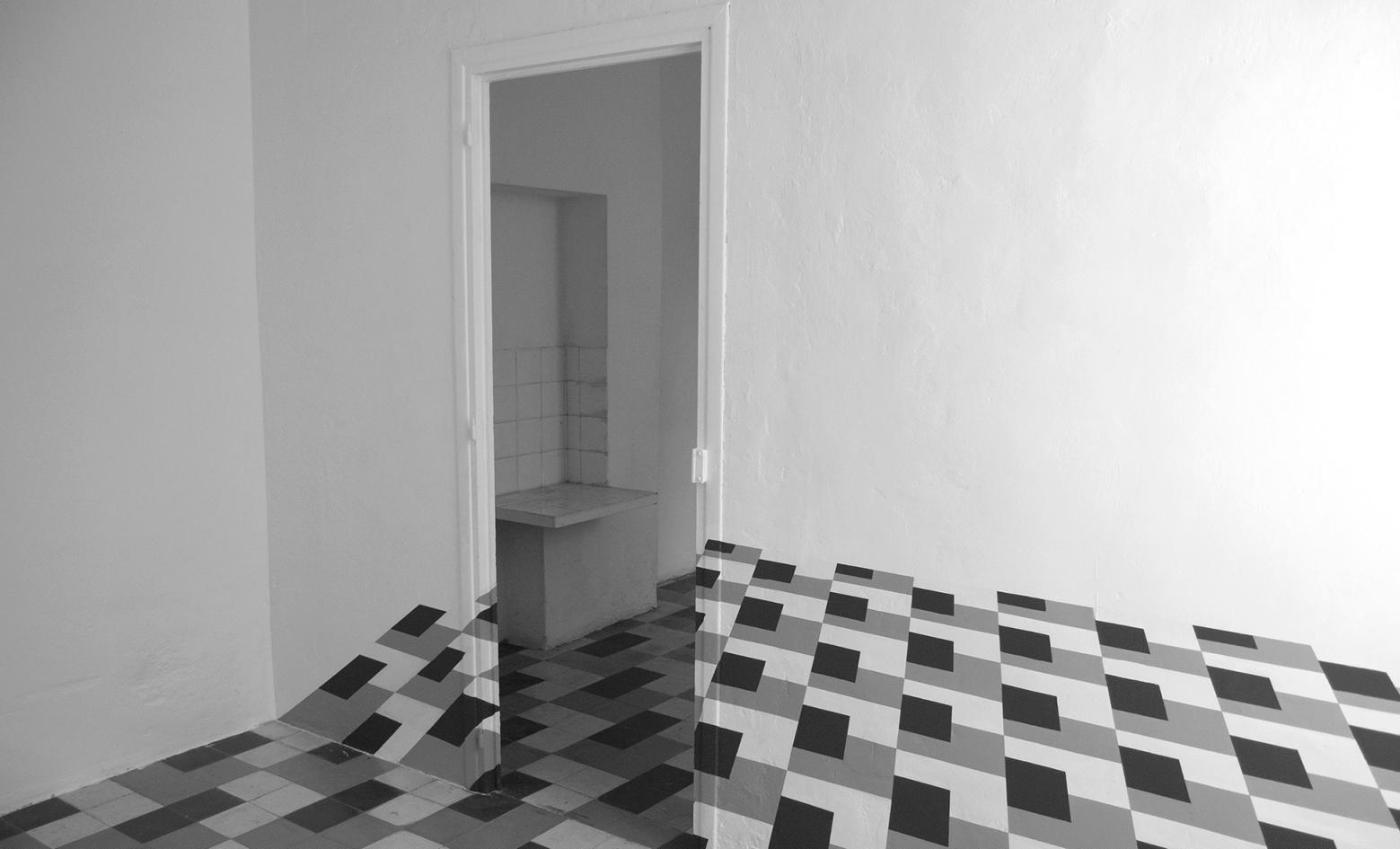 Marion Robin, Sans titre, 2007 Peintures murales, acrylique, dimensions du mur: 280 x 350 cm, vue de l'exposition Rencontre 29, la Vigie, Nîmes