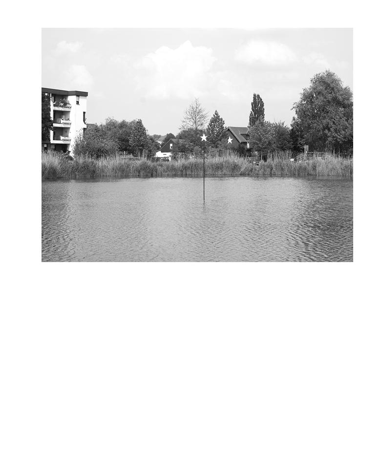 Marion Robin, *, 2012 Tube acier, contreplaqué, peinture glycéro, 300 x 40 x 5 cm, Étang de Rivery, Amiens, coproduction Projet  Hortillonnages Amiens 2012 –Art, villes & paysage